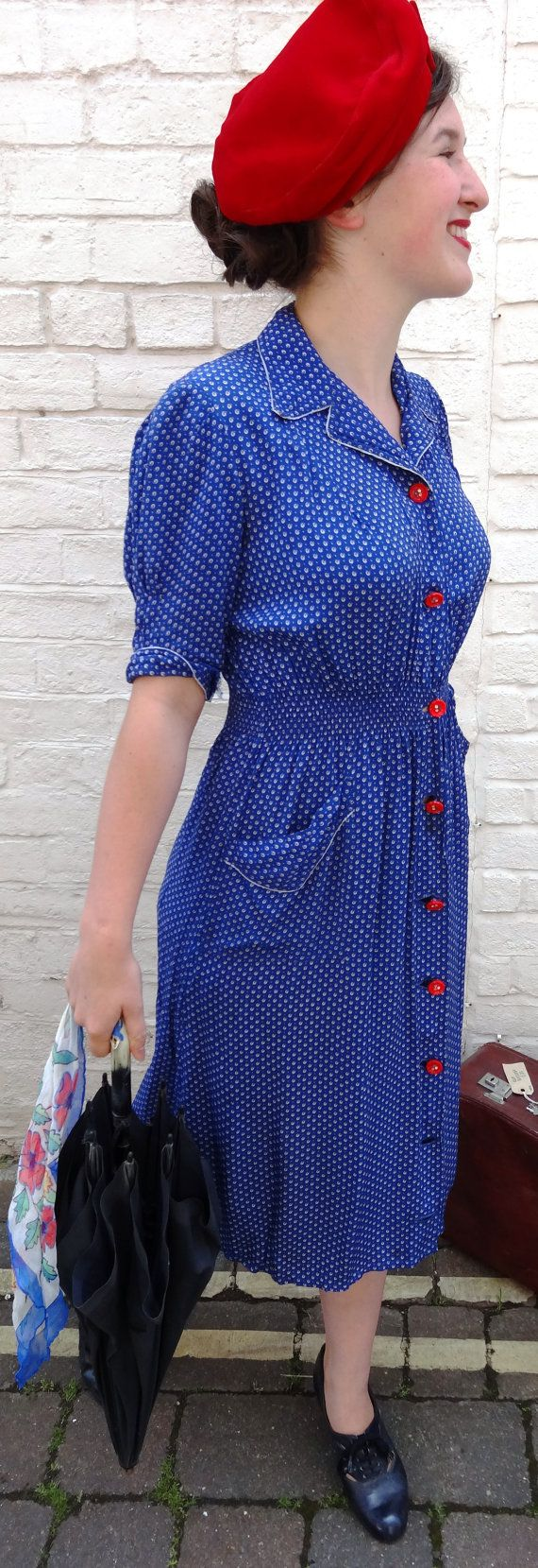 1940s Dress (UK 8-10) - Blue And Red 40s Dress - Genuine Original Vintage Forties Dress - Bust 36 ins  Waist 24 ins