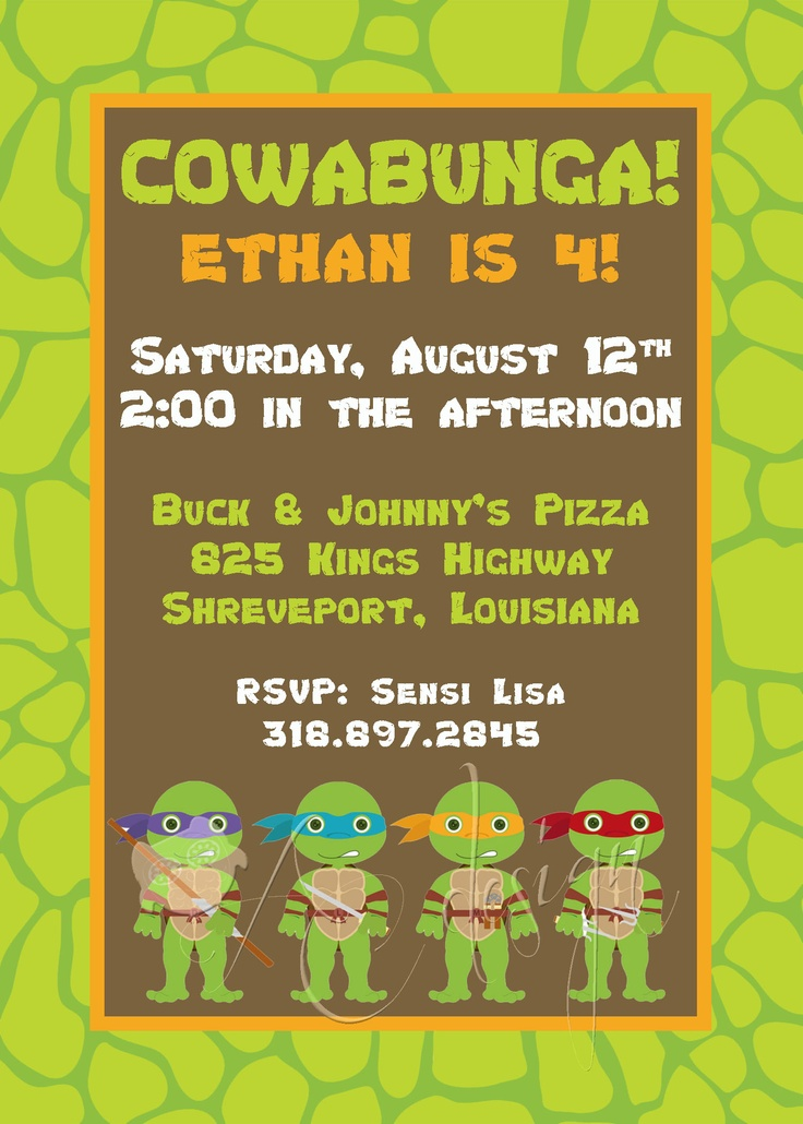 17 best images about ninja turtle birthday on pinterest | cool, Party invitations