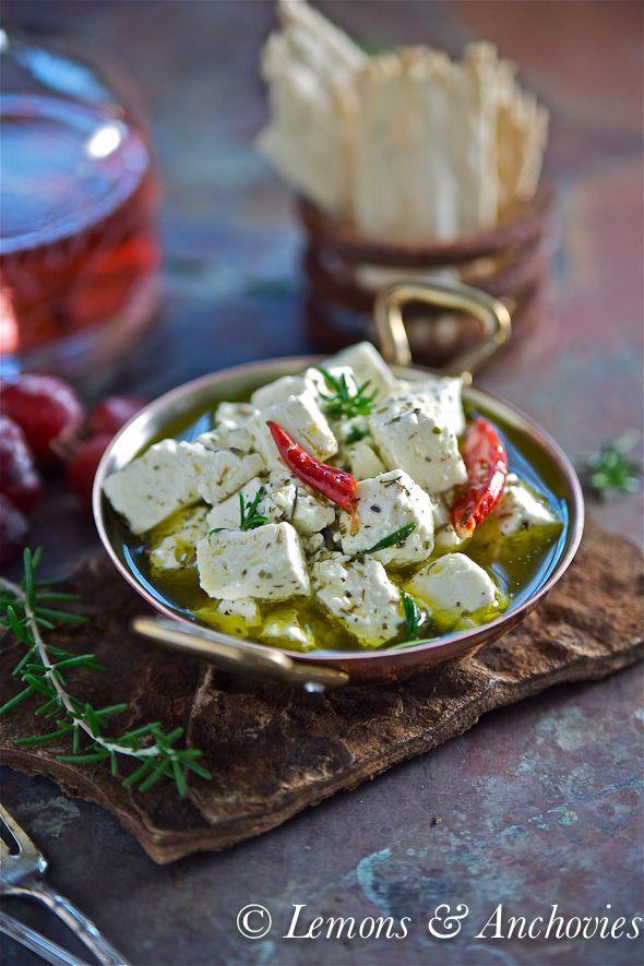 φέτα ψητή με πιπεριές-Marinated Feta Cheese