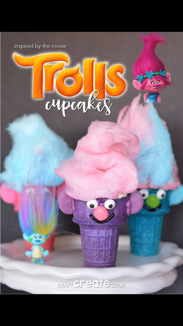 Troll movie themed party dessert cupcakes idea!