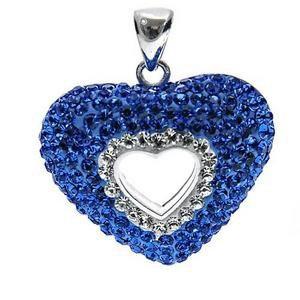 Srebrny wisiorek z kryształkami Swarovskiego serce