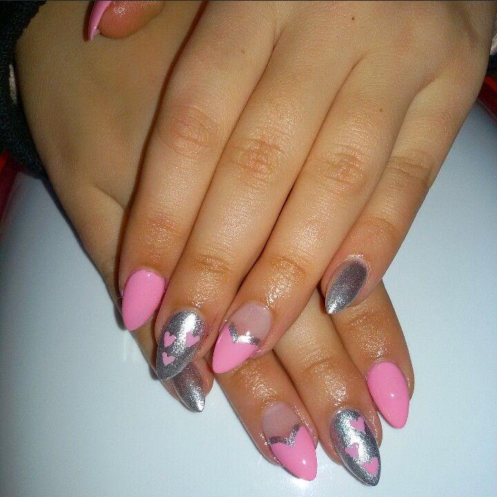 Pink&silver nails