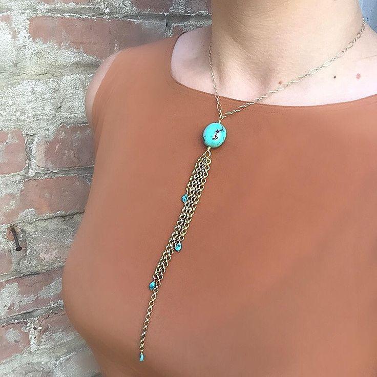 Turquoise Gemstone Gold Chain Fringe Choker Necklace,Chain Tassel Necklace,Turquoise Necklace,Short Turquoise & Gold Necklace,Kensta Jewelry by KenstaJewelry on Etsy