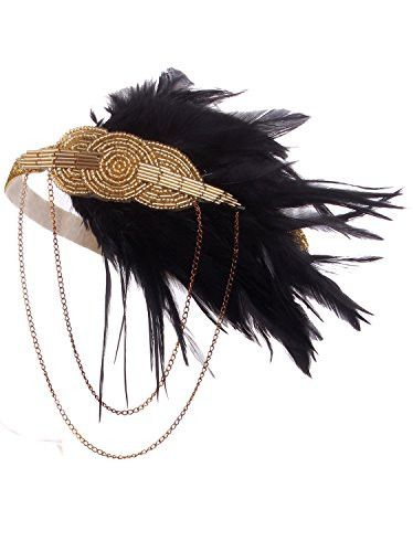 Vijiv Black Gold Headpiece Vintage 1920s Headband Flapper Great Gatsby                                                                                                                                                                                 More