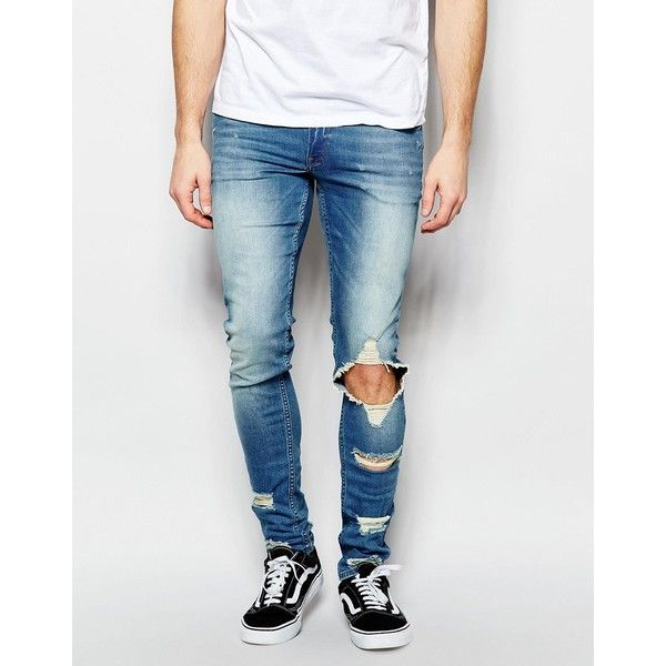 ASOS Extreme Super Skinny Jeans With Extreme Rips ($60) ❤ liked on Polyvore  featuring - 25+ Ide Terbaik Tentang Mens Super Skinny Jeans Di Pinterest