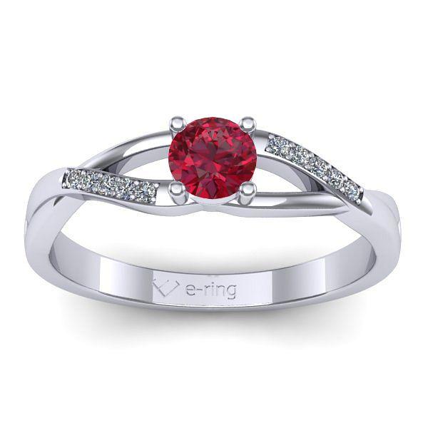 Inelul este realizat din aur alb 14k, greutate: ~2.50gr. Produsul are in componenta sa: 1 x rubin, dimensiune: ~4.00mm, culoare: ROSU, forma: round 10 x diamant, dimensiune: ~1.00mm, greutate totala: ~0.05ct, culoare: G, claritate: SI1, forma: round