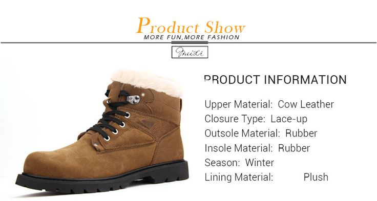 meixi winter men boots with fur genuine leather men boots winter 2017 warm snow men's shoes winter brown rubber male boots 10119