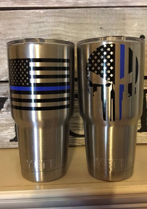 We are proud to be Americans and are a Police Family so we wanted to offer this TBL black punisher decal for you to show your patriotism and support for Americas law enforcement. Thin Blue Line US flag punisher decal is great for smooth surfaces such as metal, glass, plastic, or smooth non-latex covered wood. Decal size is measure using the longest side length (top of skull to bottom). *I would recommend ordering a 3 for the 30 oz yeti and colster and a 3 or 4 for the 20 oz. ***Please note…