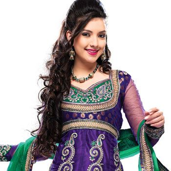 #Purple Net #Anarkali #Churidar Kameez With Dupatta