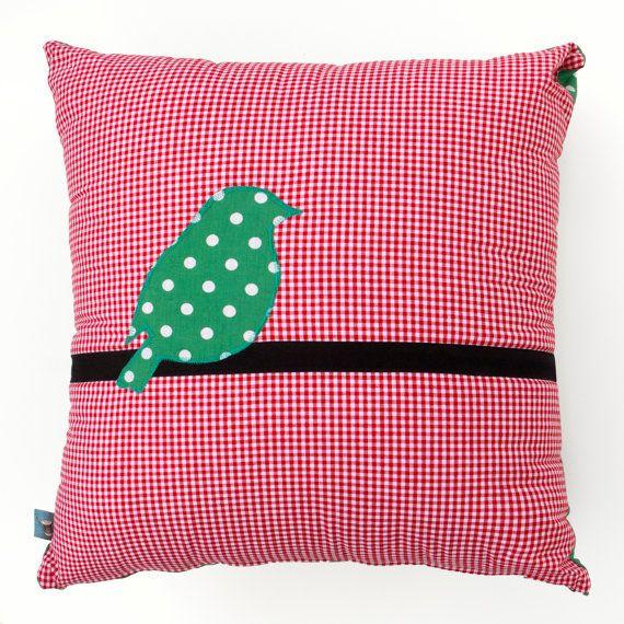 Checked Cushion with a Polka Dot Bird 45cm x 45cm
