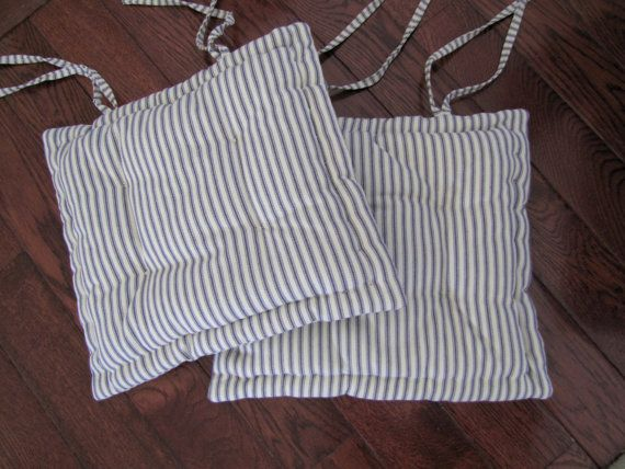 Dining Chair Pad With Ties; Custom Chair Cushion Made In Blue And White  Ticking Stripe