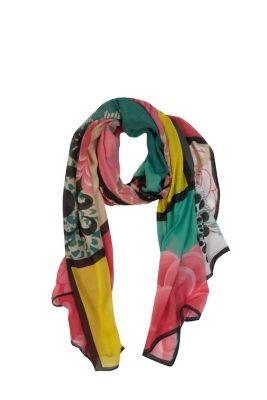 Desigual women's Tricolor scarf. Our maxi-scarves are the best: they're so big you can wear them as a sarong, a pashmina or a beach dress, etc. It measures: 195x110 cm / 76.77