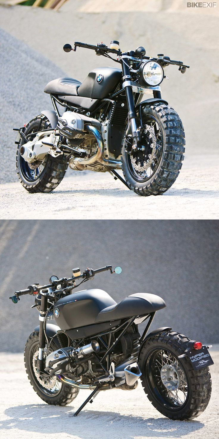 The BMW R1200R gets the scrambler treatment from automotive designer Lazareth. Brutal, non?