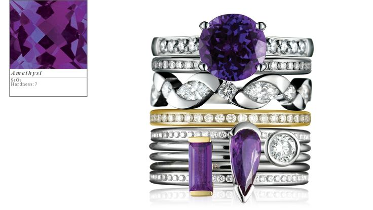 Ring stack by Simon Pure, amethyst set in 18ct white and yellow gold surrounded by diamonds.