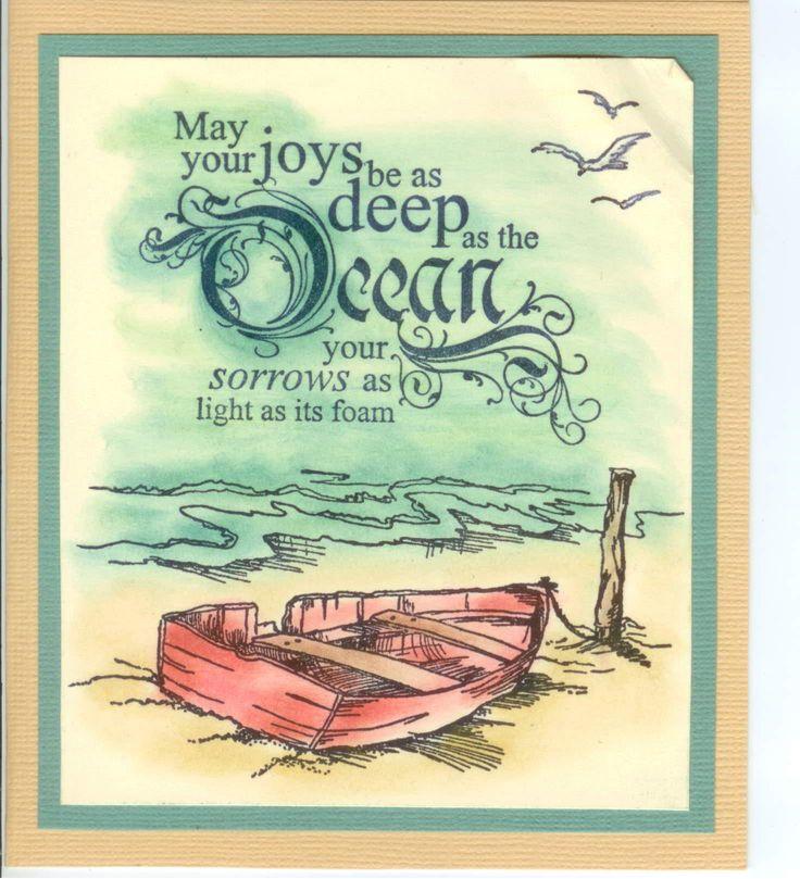 Abandoned Boat 2290F, Deep as the Ocean 4880E, 796B Seagulls: Stamp-it Australia. Card by Susan of Art Attic Studio