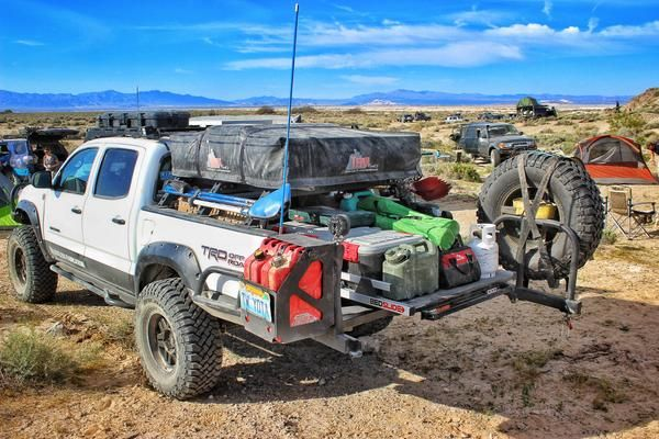 Tacoma Overlanding Rooftop Tent On Bedrack With Bedslide Model S Only 899 Access Your Camping Gear Quickly And Easily F Overland Truck Trucks Tacoma Truck