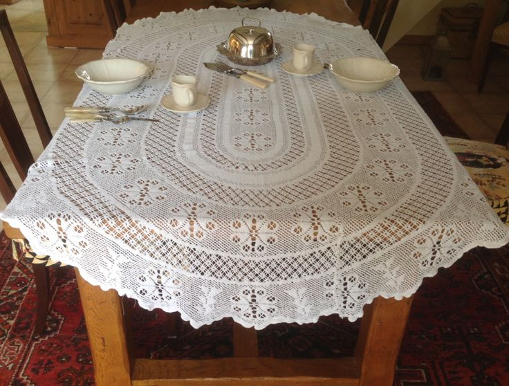 Attractive Oval French Vintage Shabby Chic Filet Lace Tablecloth . White 70 inches  x  44 inches  ( 175 cm x 110 cm) by FleursEnFrance on Etsy