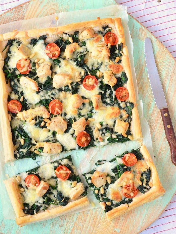 Plaattaart met spinazie en kip | Laura's Bakery | Bloglovin'. Bladerdeeg iets minder gezond, vervangen door.....?