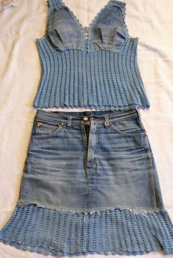 Как сделать юбку и топ из старых джинс. The skirt and top from old jeans. DIY step-by-step tutorials