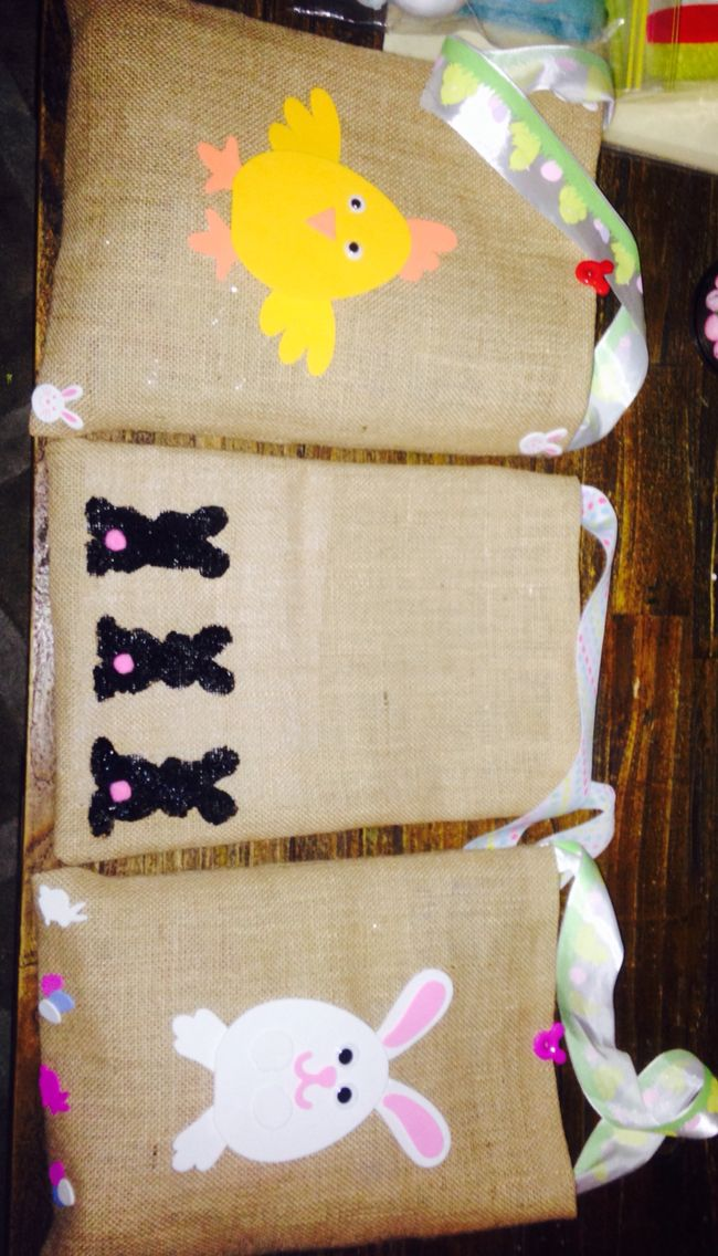 Hessian Easter bags filled with goodies and then used for a Easter Egg hunt
