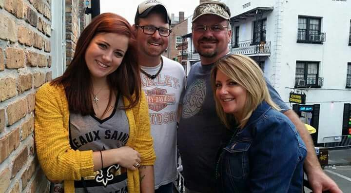 "Bourbon Street bar on the Balcony Brittany, Cousin Ty, Rod & me ""Cowboys vs. Saints"" Sunday night football October 2015"