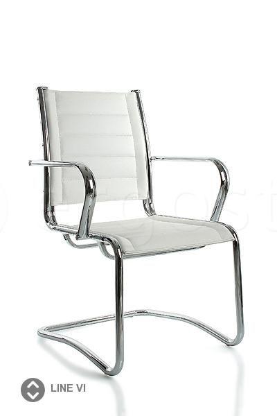 Line Vi - стул для переговорных на металлической опоре, может быть выполнен из кожи или экологичной кожи - экокожи