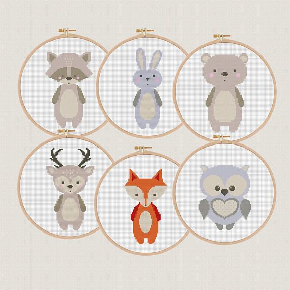 Forest animals cross stitch patterns pdf set of 6 fox deer