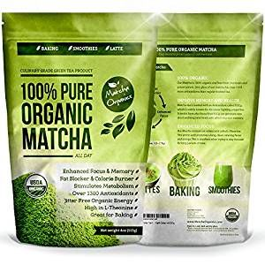 Amazing Diet Tip - 100% USDA Organic Matcha Green Tea Powder Extract - Fat Burner & Weight Loss Diet Supplement & Metabolism Booster - Natural Detox All Day Energy & Mental Focus - Latte, Smoothie, Shake & Baking Mix - Improved Hair & Skin Health (4oz) #afflink