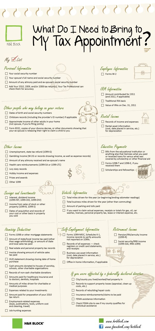Checklist for what to bring to your tax appointment (also includes a link to a printable PDF version of this checklist!) #taxes #checklist