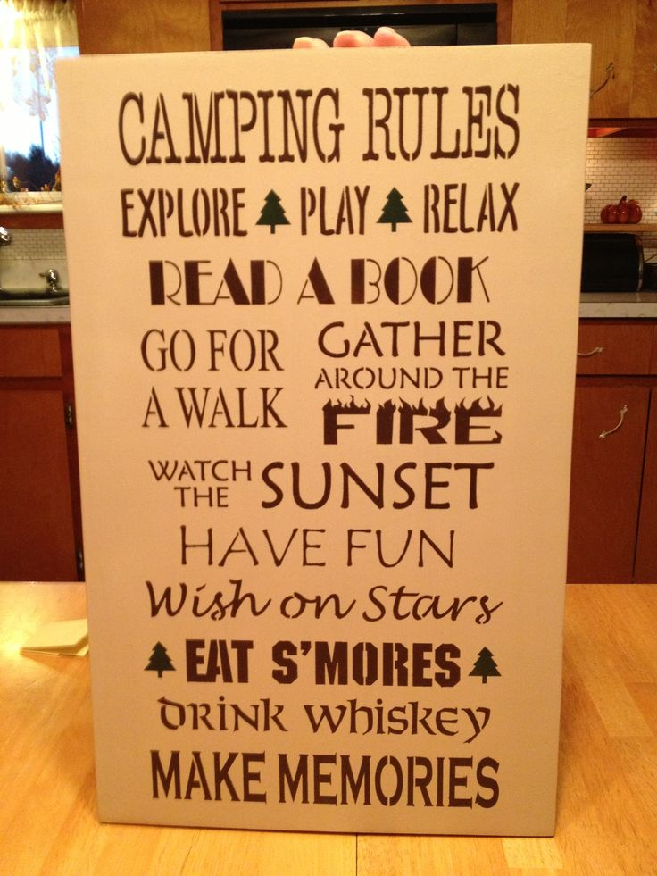 "camp(ing) sign - I see can see this adapted for the ""hunting camp""."
