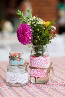 Centre pieces Our rustic DIY backyard wedding - Mornington Peninsula - by Ink Hearts Paper www.inkheartspaper.com.au