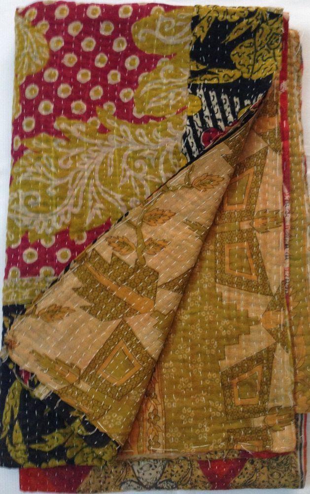 Reversible Vintage Indian Kantha Quilt floral multi color sari quilt throw