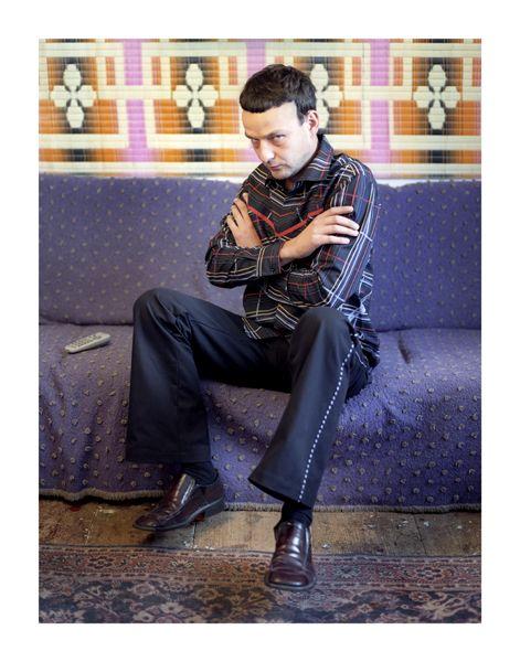 2005 photo: Jiří Thýn illustration: Maestrokatastrof, Czech fashion, menswear, striped shirt, black trousers
