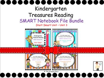 The Kindergarten Treasures Reading SMART Notebook File Bundle (Smart Start Unit - Unit 3) was created by The Primary Place. There are 399 slides in this SMART Notebook 11 file. Please ensure that you are able to use SMART Notebook 11 prior to  purchasing this product.This package was designed for the 2011 Treasures Edition.