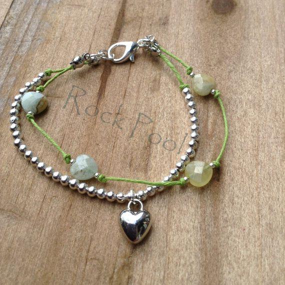 Zilveren bal en Agaat hart armband van door RockPoolAccessories