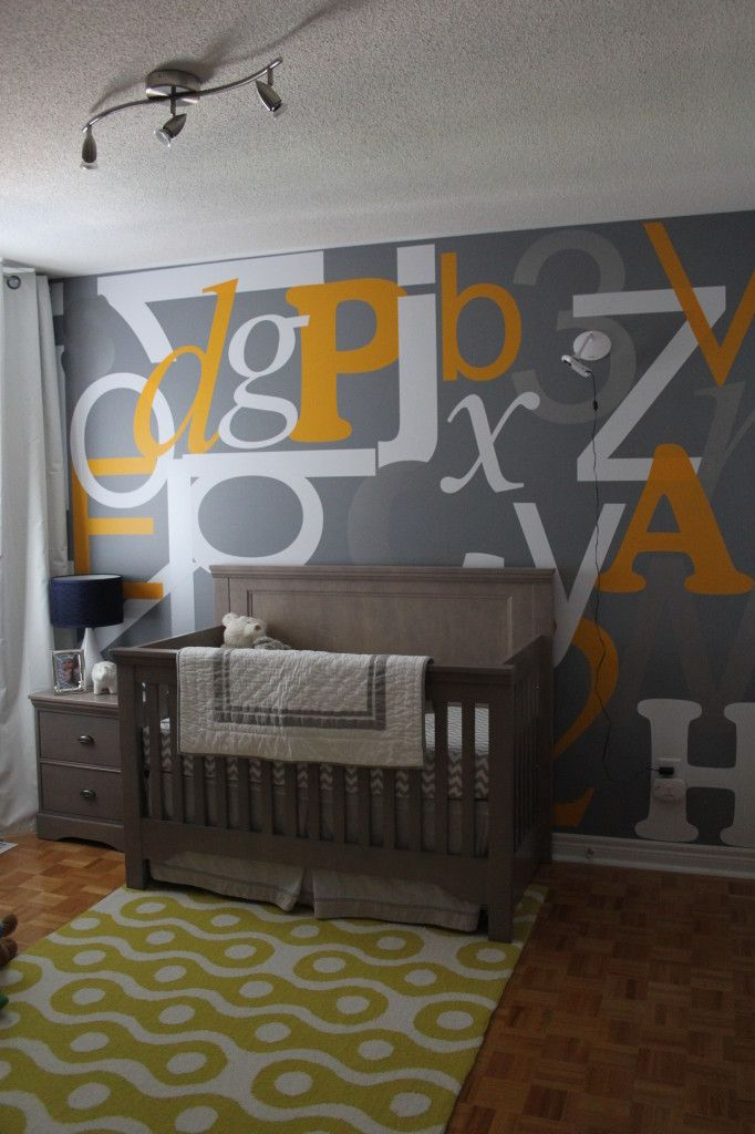 Alphabet Wall in the Nursery -Alphabet Nurseries, First Baby, Alphabet Wall, Babies Nursery, Projects Nurseries, Alphabet Features, Accent Walls, Nurseries Ideas, Baby Nurseries