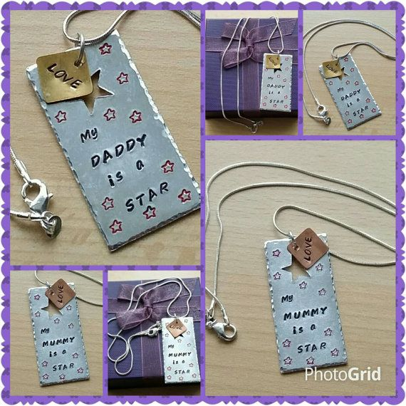 My Mummy is a Star, hand-stamped necklace, silver plated chain, personalised, gifts for children, inspirational quotes, Mothers Day gifts