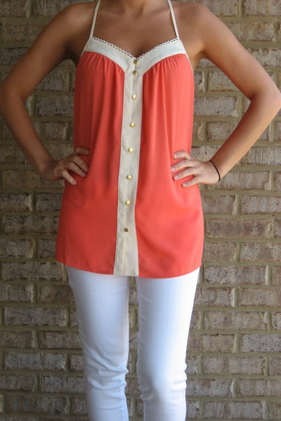 love: White Skinny, Cute Tops, Shirts, Tanks Tops, White Pants, Buttons, White Jeans, Coral Tops, Summer Tops