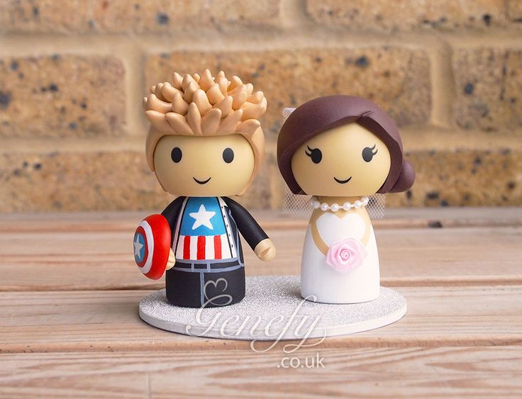 Captain America Groom And Bride Wedding Cake Topper By Genefyplayground Https Www