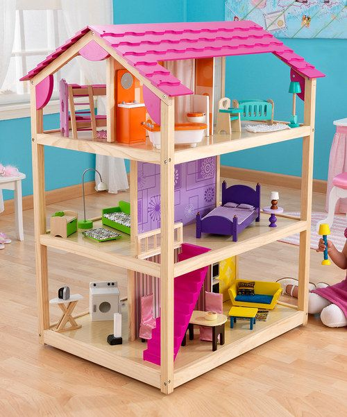 +The+So+Chic+Dollhouse+can+be+played+with+from+all+four+sides+and+features+three+levels,+ten+rooms+and+50+colourful+pieces+of+furniture.+Plenty+to+keep+your+little+lovely+entertained+all+day+long! Includes+50+pieces+of+furniture,+ten+rooms+and+three+levels87cm+W+x+117cm+H+x+69cm+DMedium-density+fibreboard/+wood+/+fabric+/+plasticPackaged+with+d