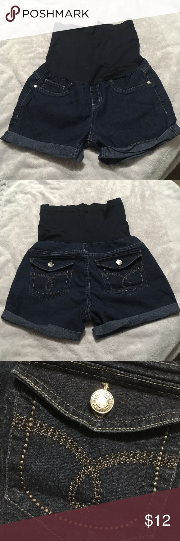 Women's maternity over belly denim stretch shorts Dark wash maternity shorts with over belly elastic and rolled cuff legs. Very comfortable. Rolled cuffs could use ironing but no signs of damage. 3 inch inseam. I offer bundle discounts! Shorts Jean Shorts