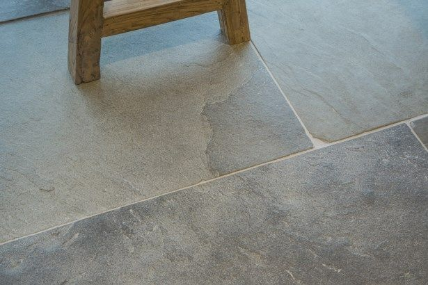 Old Heritage is a mid blue-grey Limestone which has been heavily aged on the surface to create a timeless worn appearance. #GreyLimestoneTiles #GreyLimestoneFlooring