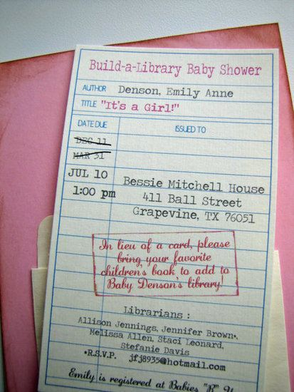 Library Card Invite: Jen of Lil Mop Top created this library card invite for her sister's shower, but it's now available as a printable on Etsy. It's the perfect intro to a book-themed baby shower.