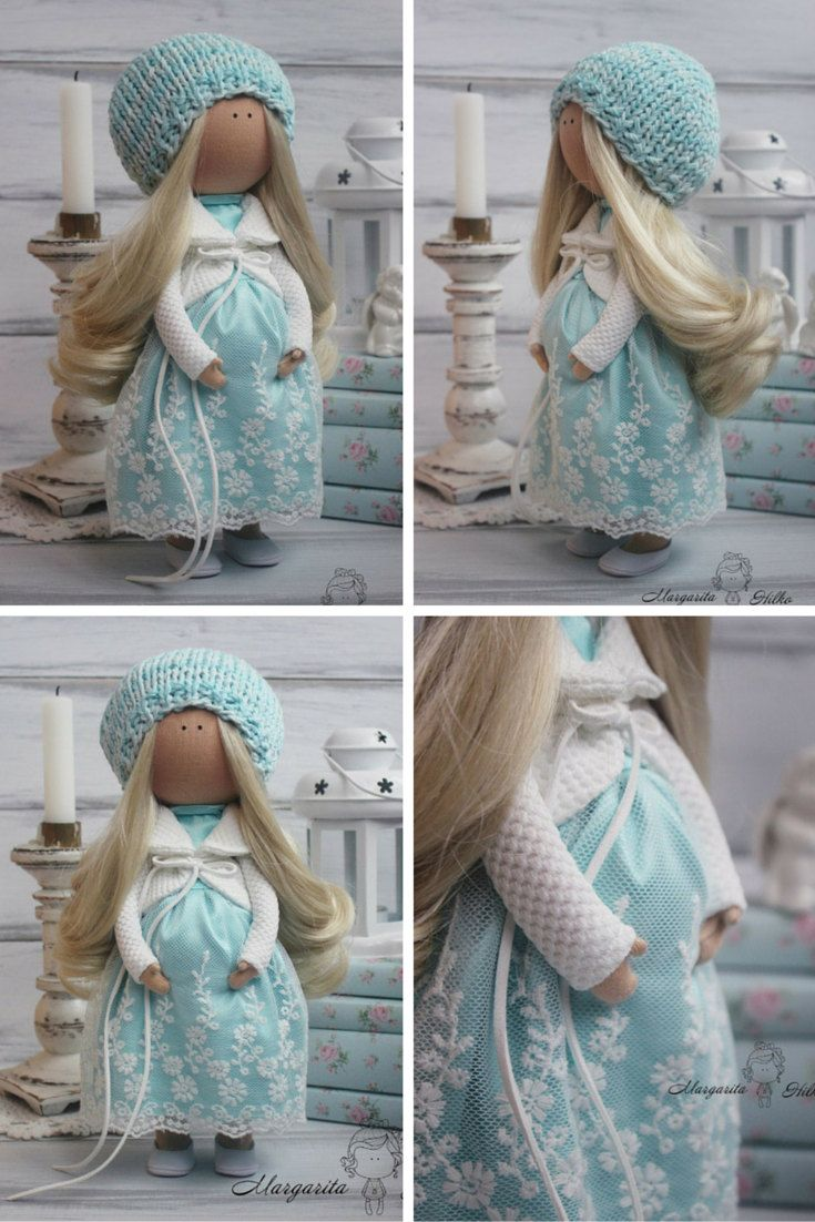 Art doll handmade pregnant turquoise white by AnnKirillartPlace