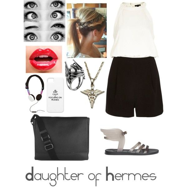 Daughter of Hermes - Percy Jackson Greek Gods by meggief1413 on Polyvore featuring River Island, Ancient Greek Sandals, Mulberry, Aliki Strompouli Hermes ring, MARC BY MARC JACOBS and percyjackson