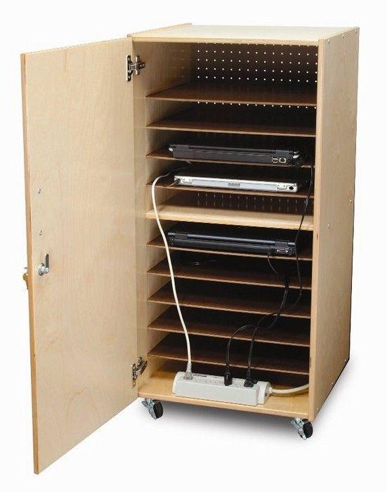 10-Compartment Laptop Storage Cart More