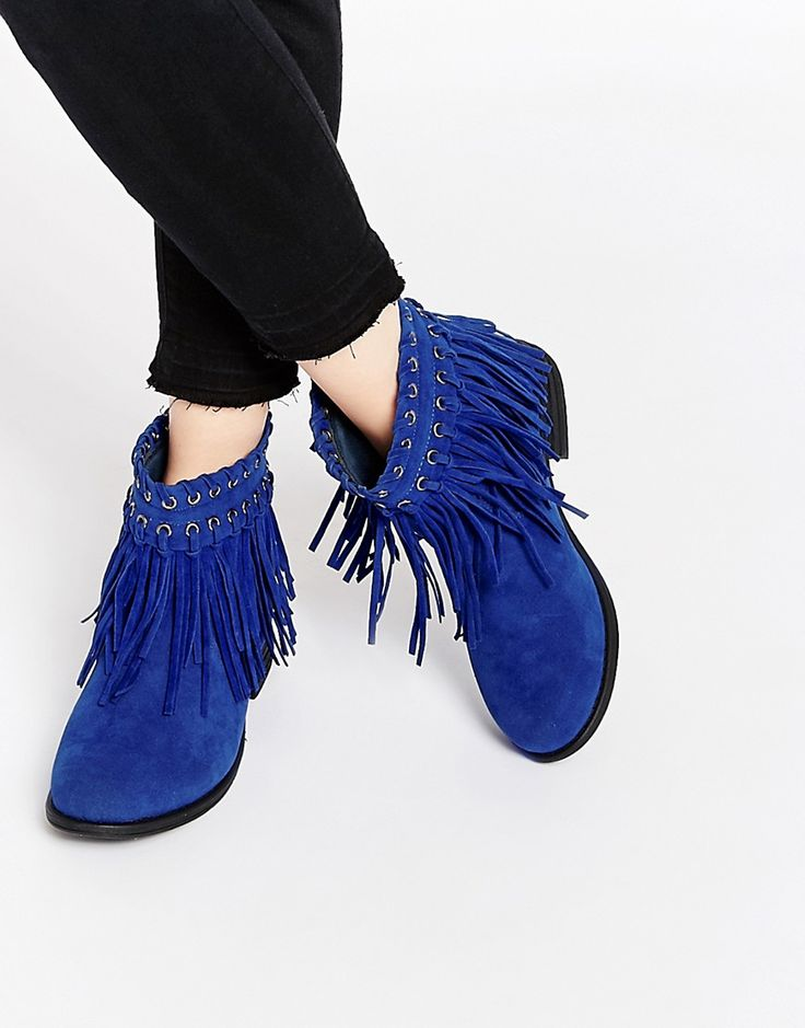 Image 1 ofTruffle Collection Frolly Fringe Ankle Boots