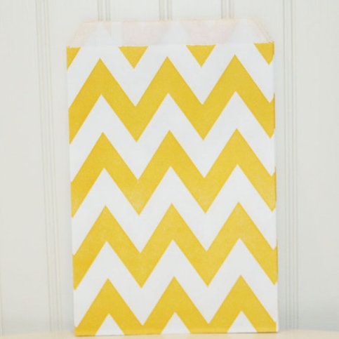 yellow chevron favor bags