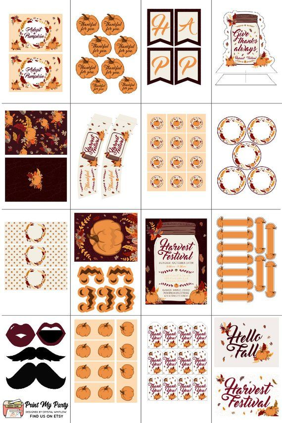 Harvest Festival Party Printable Bundle Fall Party Harvest Party
