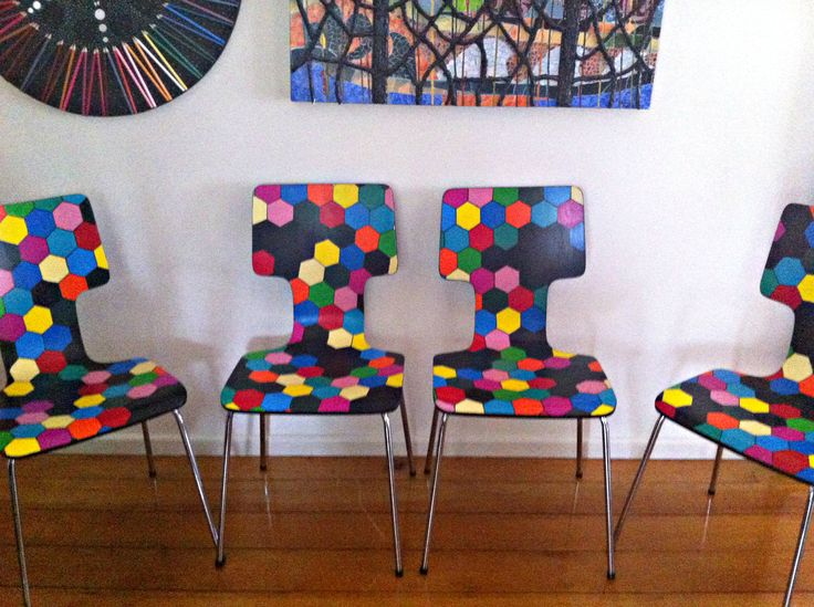 Functional Furniture-Art:  I love old vintage furniture and love painting it bright modern funky colours. This is my latest painted furniture design.  I absolutely became inspired by hexagons, so decorated these cute little chairs with multicoloured hexagon shapes. I deliberately left black spaces as I think it gave the chair more interest. These sold via eBay. For the latest news on what I am creating check out my Facebook Page: Bronnie Brasch Designs.